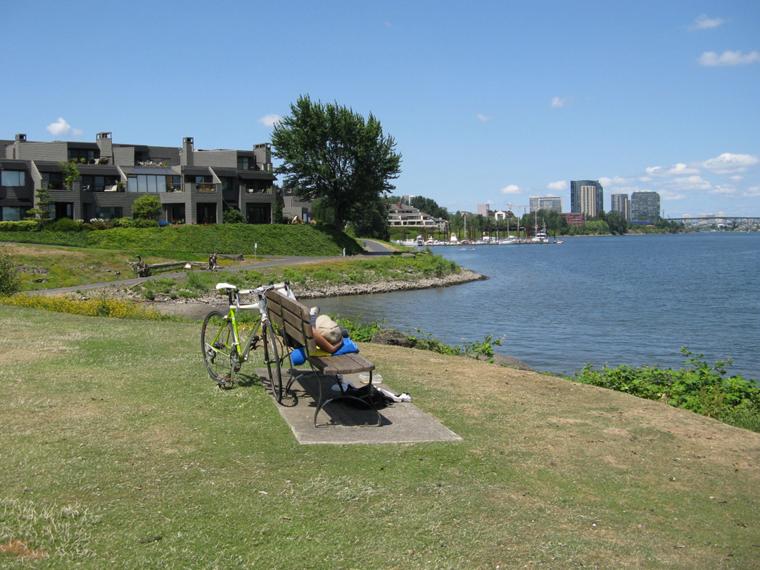 Relaxing on the path between the South Waterfront and Willamette Park.