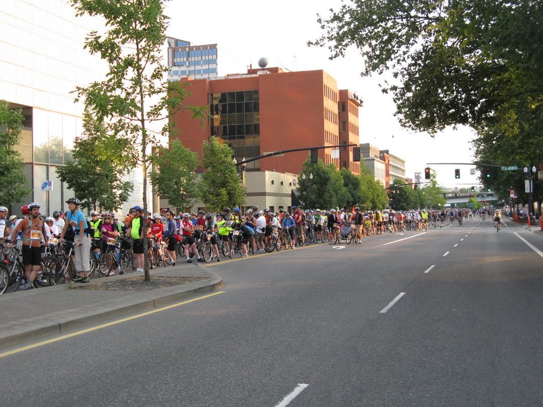 Lining up at the start line on SW Naito Parkway at 7:30am