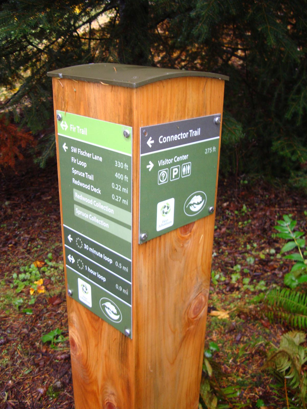 One of the new trail markers at Hoyt Arboretum.