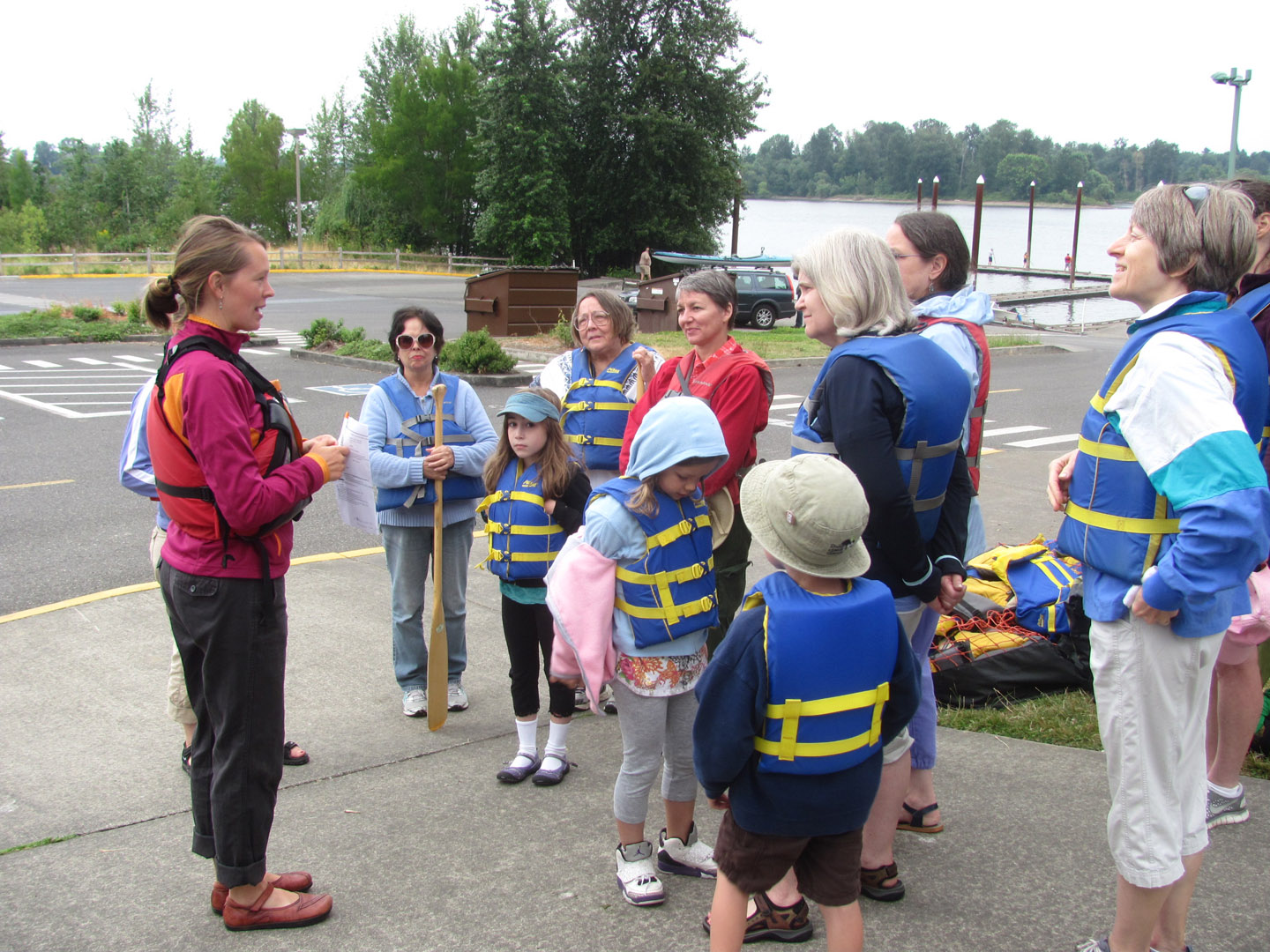 Learning about canoe safety.
