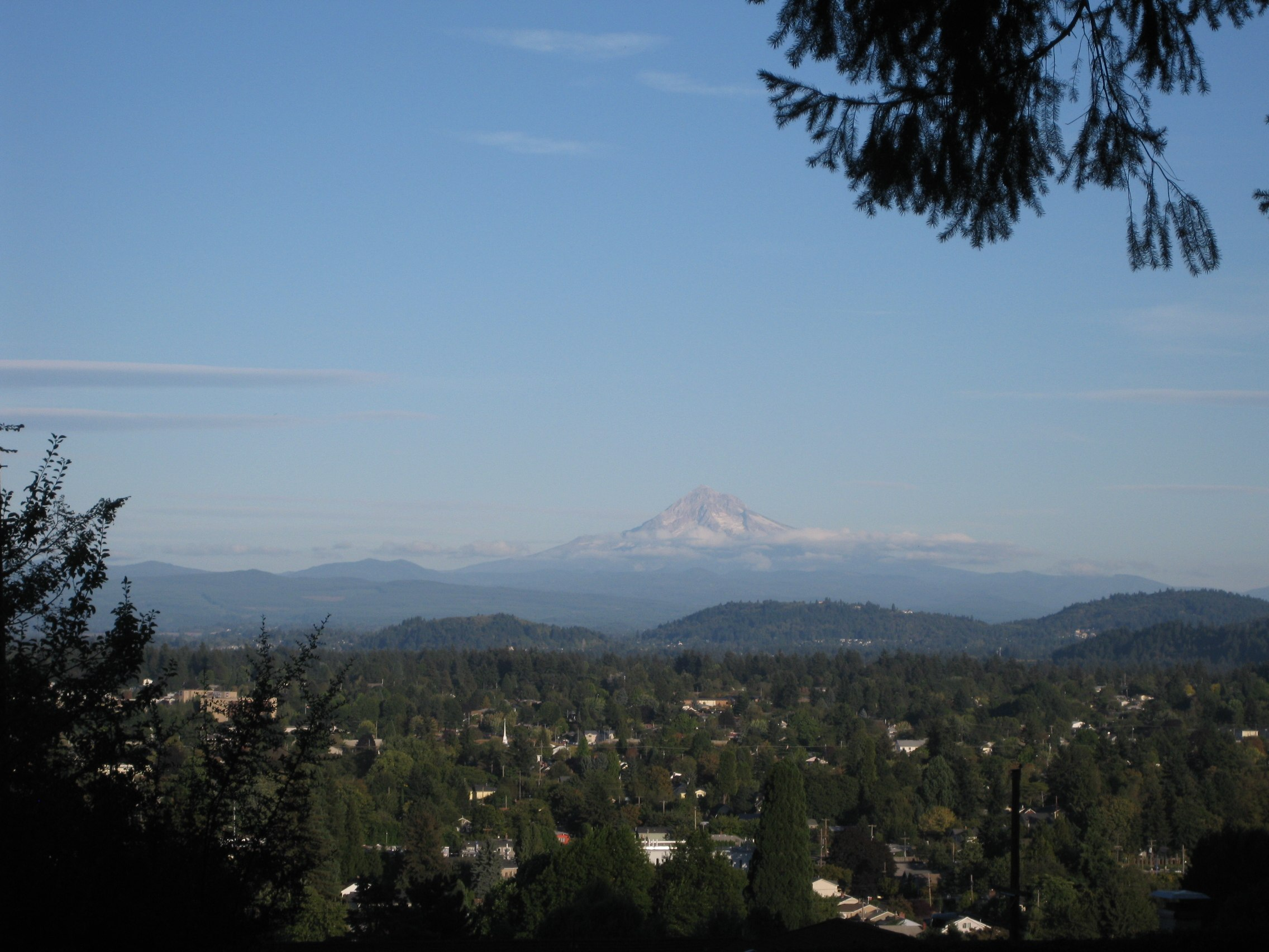 The view of Mt. Hood from Mt. Tabor.