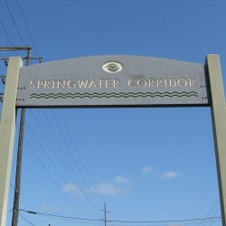 One of the entrances to the Springwater Corridor on the east side of the Willamette River.