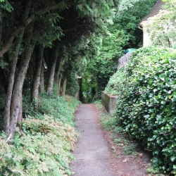 Part of the route to the top involves some cute paths through the neighborhood.