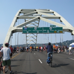 Reaching the top of the Fremont Bridge - best view in the city!