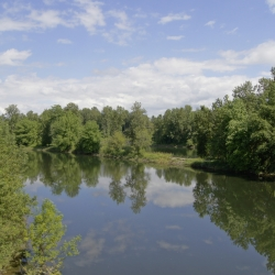 The Washougal River from the bridge.